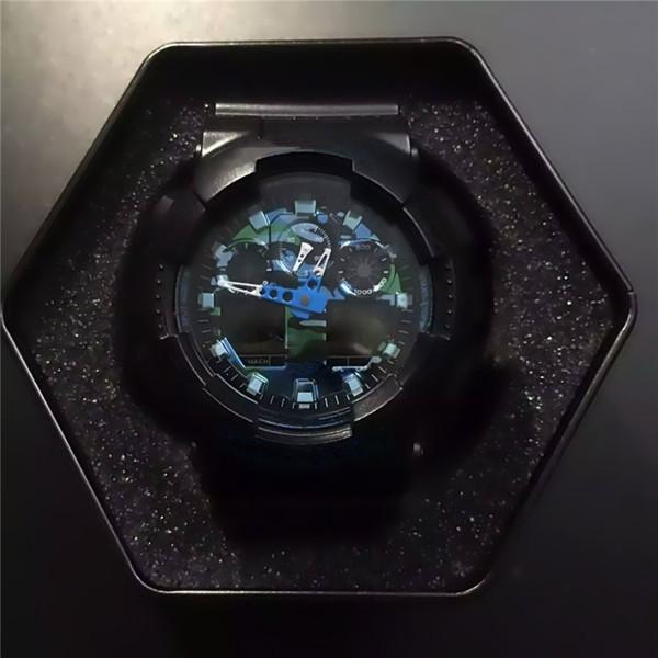 Herren Sportuhr Luxusuhren LED Digitaluhr G Style Shock 100 Alle Zeiger arbeiten Auto Licht Wasserdichte Uhr mit Box