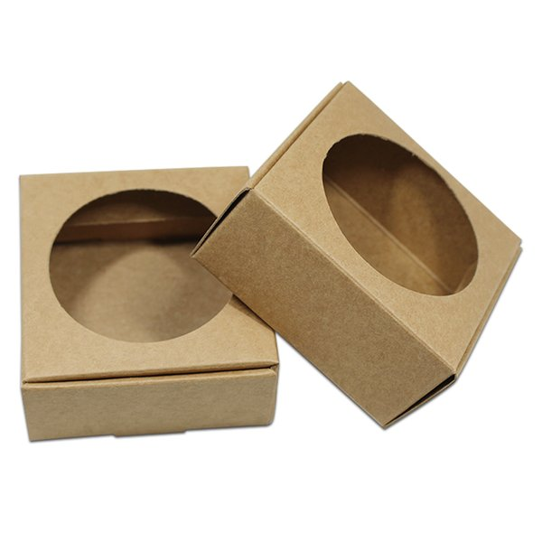 30pcs Brown Round Square Hollow Kraft Paper Packing Box Wedding Party Packaging Gift Candy Jewelry Pearl Handmade Soap Box free shipping