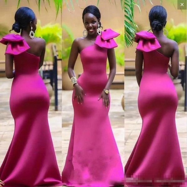 Bright Fuchsia Mermaid Prom Dresses With Big Bow On One Shoulder South African Satin Evening Gowns Floor Length Formal Party Dress