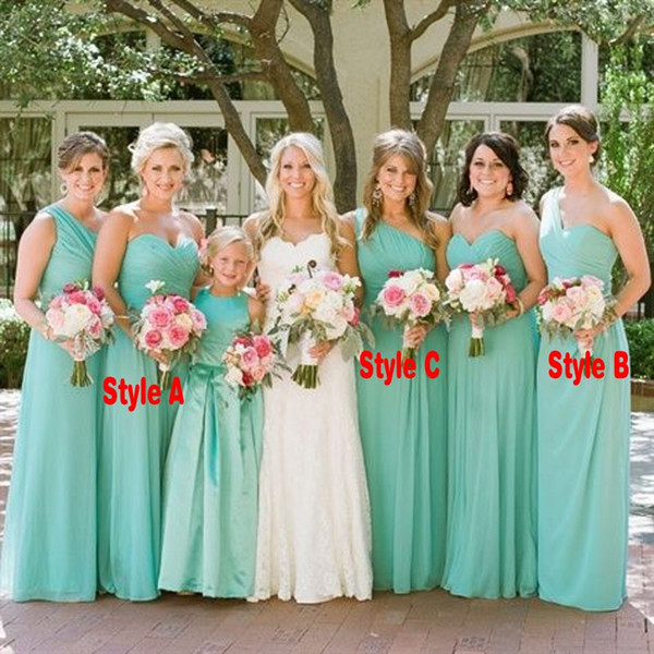 Fall 2018 Country Maid of Honor Dresses for Weddings Mix and Match Styles A Line Mint Green Chiffon Bridesmaid Dresses