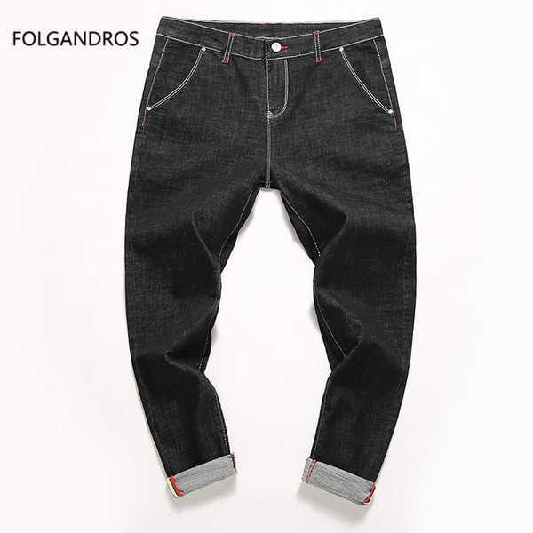 Simple Solid Color Jeans Men Casual Slim Denim Pants Scratched Full Length Trousers for Male Blue Black High Quality D2828