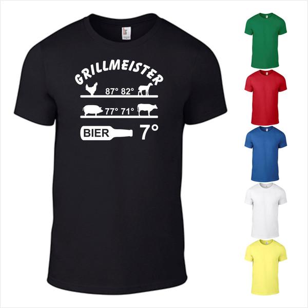 T-Shirt Grelha Grillen Garten Bier Fleisch Termômetro Geschenk Grillmeister FunFunny frete grátis Unisex Casual tee presente