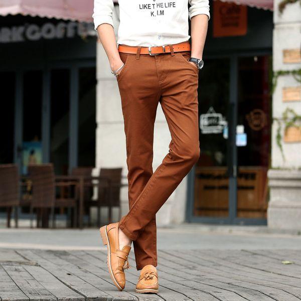 2017 Nouveaux Hommes 4 Couleur Slim Chino Doux Denim Stretch Jeans Pantalon Robe Pantalon Marron Noir Café Orange Taille 32 33 34 36 38