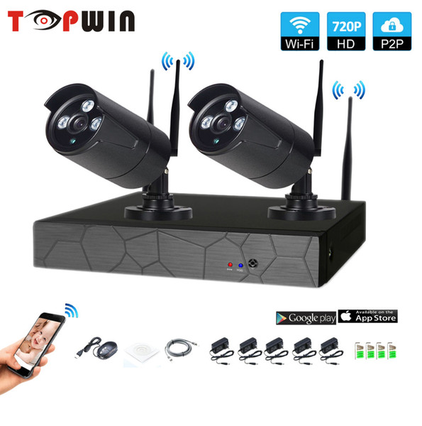 2CH Wireless NVR 720P IR outdoor P2P WIFI 2 PCS 1.0MP CCTV Security Camera System Surveillance Kit