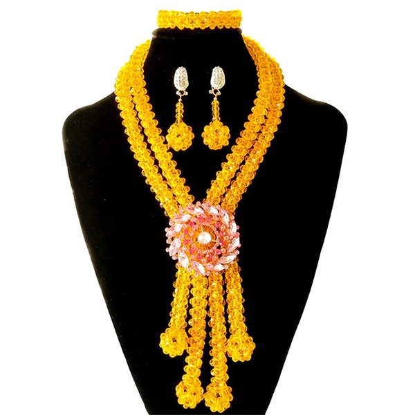 Orange Crystal Nigerian Wedding Beads Traditional African Wedding Bridal Statement Necklace Set Womens African Costume Jewelry Free Shipping