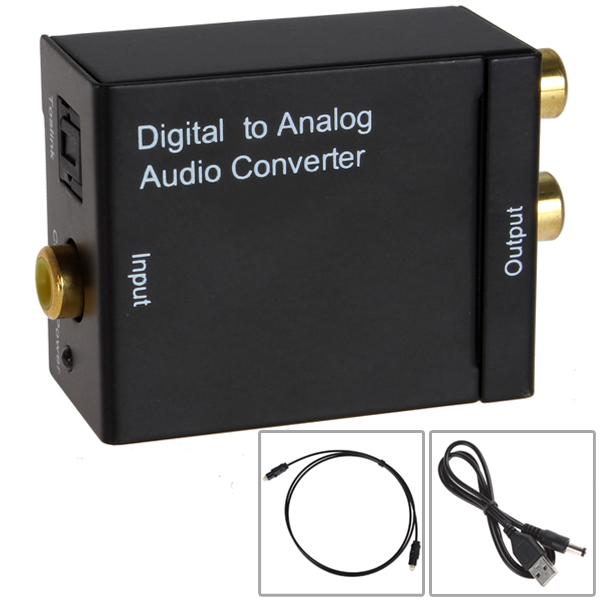 Digital Optical Coaxial Toslink Signal to Analog RCA L/R Audio Converter Adapter + Fibre Optic Cable HMP_444