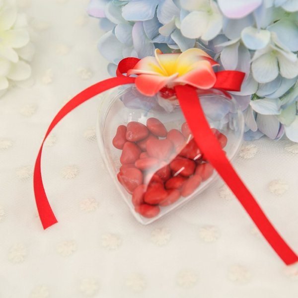 30pcs Candy Box for Christmas Tree Hanging Home Decor Flower Preservation Container Transparent Plastic Hollow Heart Shape Ball