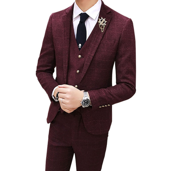 Mens Casual Slim Fit Plaid Blazer Three Piece Red Suit Sets | 2017 Brand New Male Business Wedding Suit+Vest Waistcoat+Trousers
