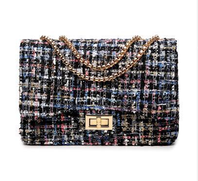 Petits sacs à bandoulière à rabat Femmes Messenger Gold Chain Cross Bag Sac à main Vintage Embrayage Hiver Satchel Woolen Crossbody FI