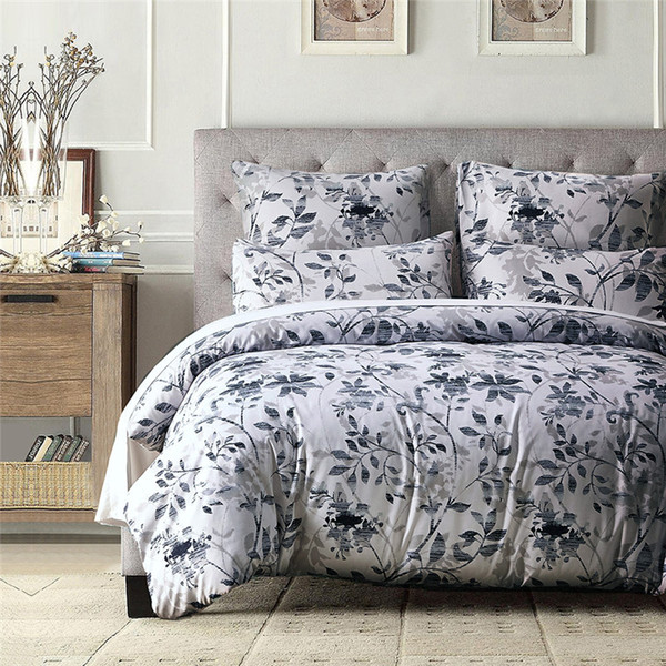 Elegant Blue Print Polyester Fiber 2/3Pcs Home Textiles Bedding Sets Contain Duvet Cover Set Pillowcase USA Twin Queen King Size