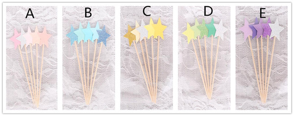 Hot 1000pcs Cupcake Toppers Golden Mix Color Star Paper Cake Toppers Children Favors Decorations For Wedding Baby Shower