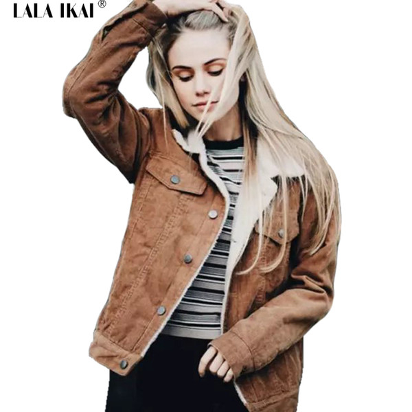 Women Pink Lambswool Basic Jackets Coats Vintage Long Sleeve Corduroy Overcoats Hairly Collar Winter Outwear Females SWF0339-45