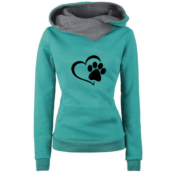 2018 New Fashion Cat Dow Paw Print Hoodies Women Tops Pockets Bts Cotton Female Street Thick Sping Autumn Suit