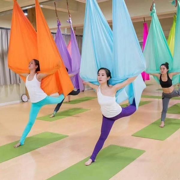XC Hamaca de yoga aérea de alta resistencia 5mx2.8m Multifunción Cinturones de yoga antigravedad para ejercitar la calidad de hamaca de aire