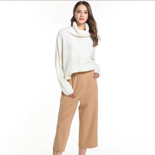 Mulheres queda de roupas 2018 camisola de malha da mulher tops de inverno senhoras pullovers gola alta manga comprida camisola cabo outono ZJ043