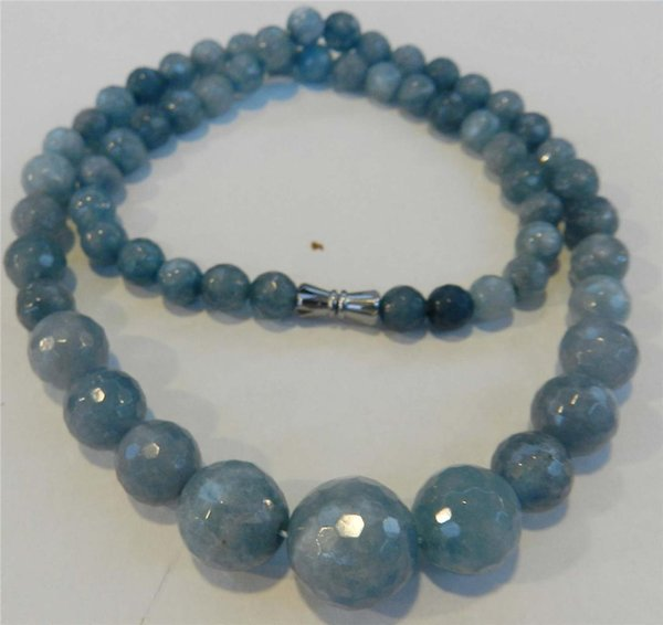 "6-14 mm Brazilian Aquamarine Faceted Gems Round Beads Necklace 18/"""