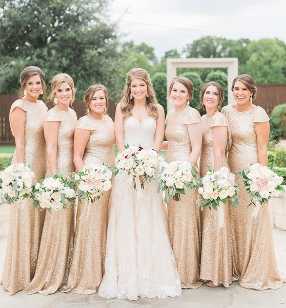 Rose Gold Mermaid Bridesmaid Dresses Jewel Neck Sequined Bling Bling Wedding Party Gowns Maid of Honor Dress robes de demoiselle d'honneur