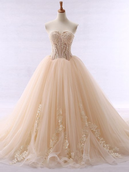 best selling vestido de noiva Fancy Sweetheart Ball Gown Wedding Dress With Appliques Beaded Champagne Wedding Dresses Bridal Gowns