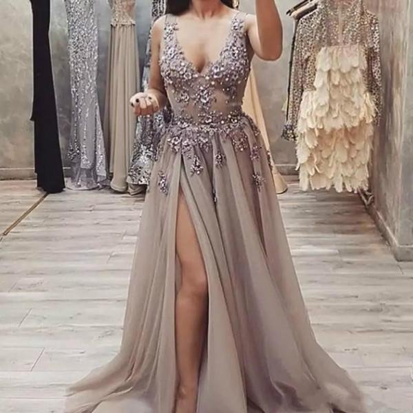 Berta Frisado Lado Dividir Vestidos de Baile 2020 Tule Uma Linha Pescoço V Vestidos de Noite Barato Plus Size Vestido de Festa