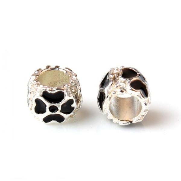 Black Painted Lucky Clover Heart Charm Bead Big Hole Fashion Women Jewelry European Style For Pandora Bracelet