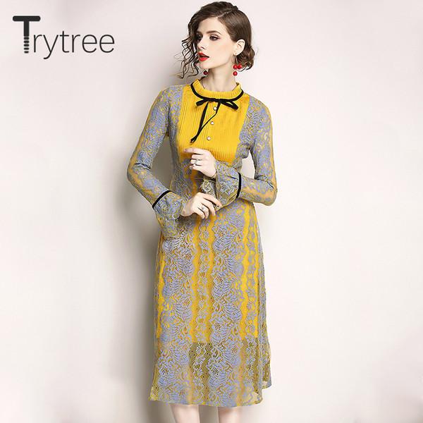 Trytree Herbst Winter Kleid Vintage Spitze Elegante Frauen 2018 Party Schmetterling Ärmel Kleider A-Line Mitte Kalb Reich Casual Dress