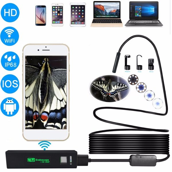 2M HD 1200P Wireless WiFi Endoscope Mini Waterproof Soft Cable Inspection Camera 8mm Lens 8 LED Borescope For Android PC