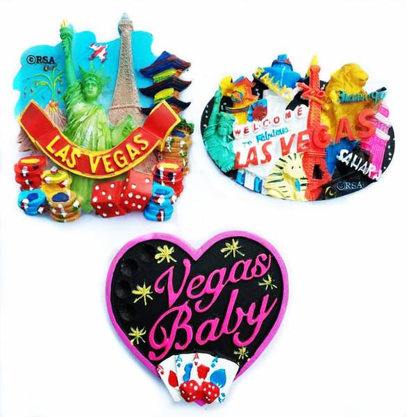 Venta caliente Nuevo Las Vegas, EE. UU. 3D Imanes de nevera World Tourist Souvenirs Refrigerator Magnetic Stickers Home Decortion