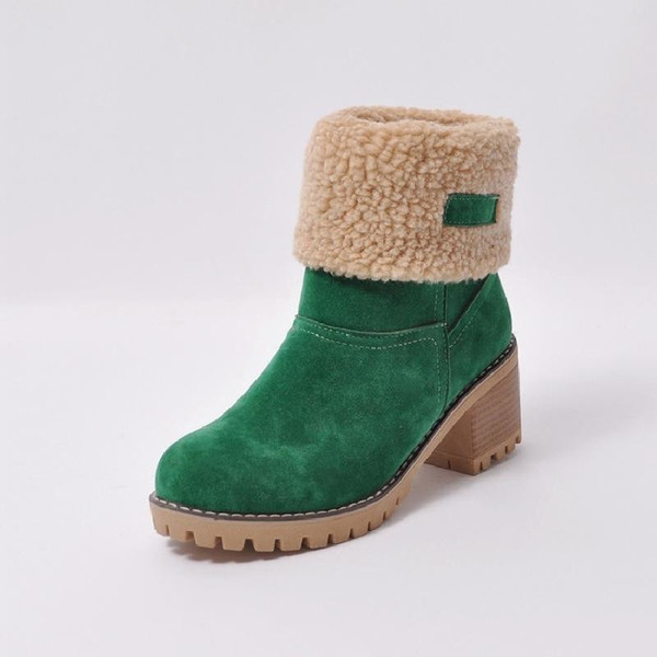 Women Suede Winter snow boots Woman Warm Cotton-padded shoes high heels boots Women Footwear short plush Boots lady big size 35-43