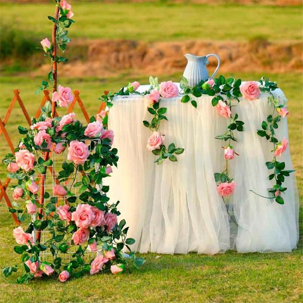 240cm Rose di seta Ivy Vine Fiori artificiali con foglie verdi Hanging Garland Decorazione di nozze a casa Porta Architrave Fiore specchio fiori