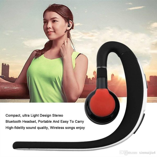 Black Fashion Wireless Bluetooth 4.0 Stereo Headset Earphone Earbud Ear Hook Earpiece Universal