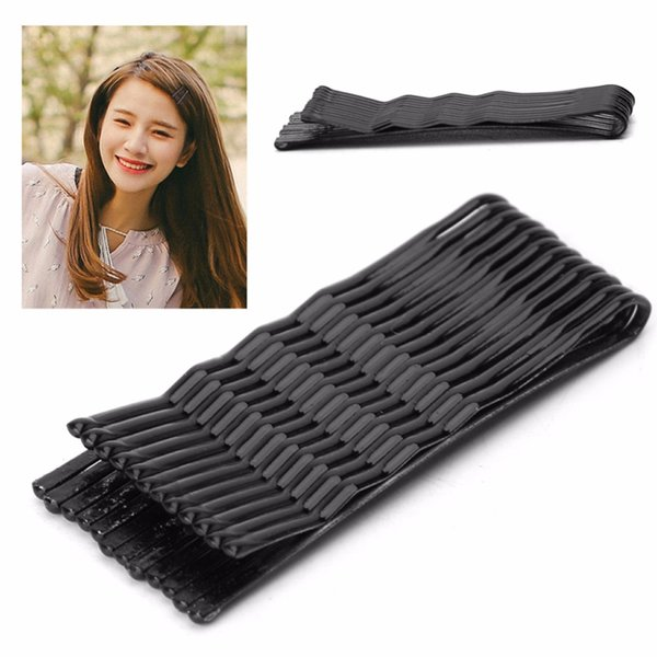 New 120Pcs Black Wave and Flat Type Invisible Hair Clips Flat Top Bobby Pins Grips