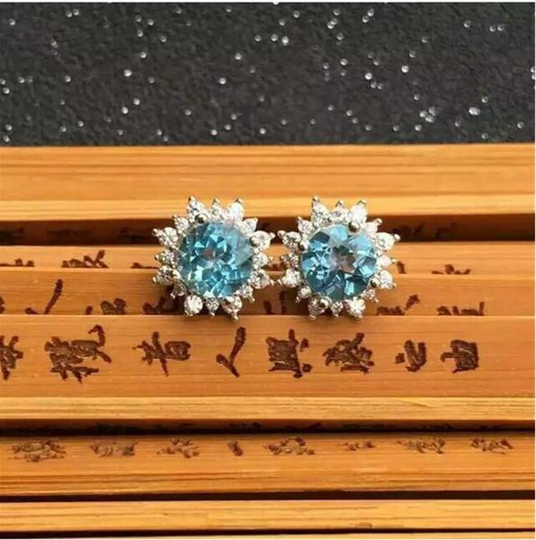 Orecchino topazio blu naturale Spedizione gratuita Topaz reale blu naturale Argento sterling 925 6mm