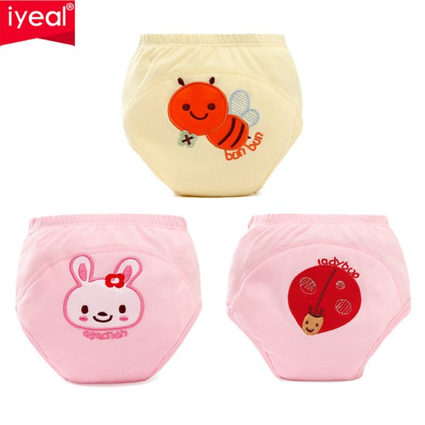 IYEAL Newborn Baby Boy Girl Diapers Reusable Nappies Cloth 3 Pieces/ Lot Washable Infant Training Pants Panties Nappy Changing