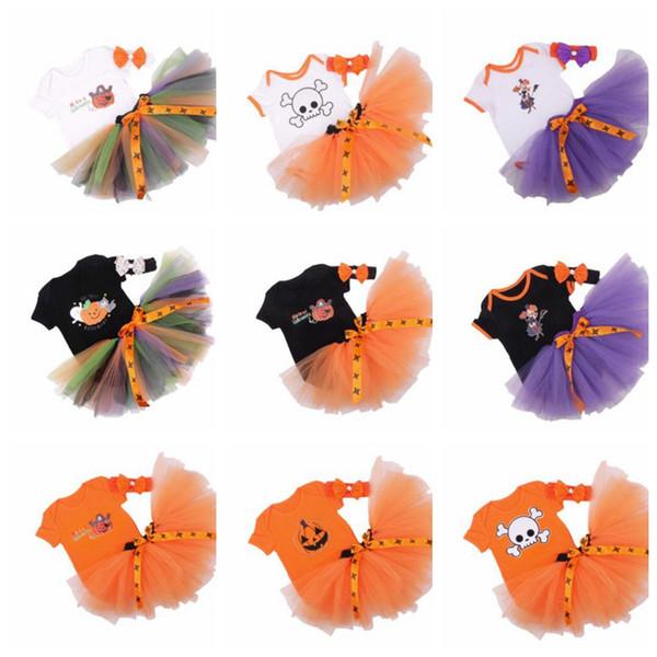 16 design Baby Romper Girl Halloween Thanksgiving Tulle Dress Outfits pumpkin Skull print romper dress with headband 3pcs 1set KKA5662