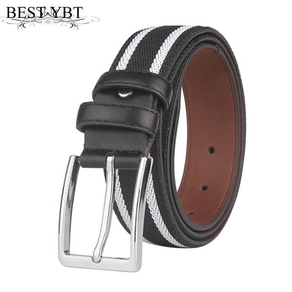 Beste YBT Männer Gürtel Mode Streifen Legierung Dornschließe Gürtel Trend Casual Männer Geschäft Angelegenheiten hohe Qualität Verkauf