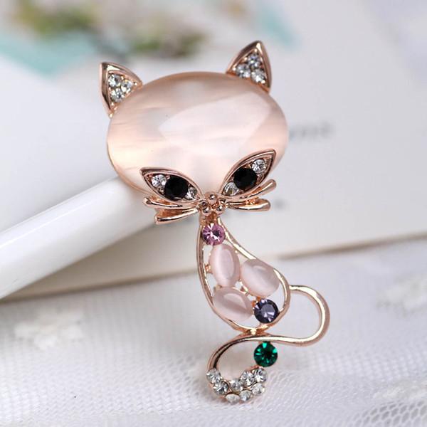 Wholesale-New Fashion Heißer Verkauf Gold Gefüllt Multicolor Opal Stein Fuchs Broschen Damenmode Niedlichen Tier Pin Brosche Schmuck