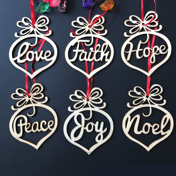 Christmas letter wood Heart Bubble pattern Ornament Christmas Tree Decorations Home Festival Outdoor Ornaments Hanging Gift 6 pcs per bag