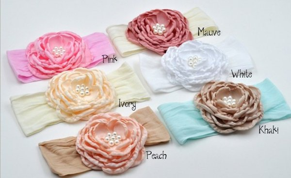 Singed Nylon Baby Headband Matching Satin Flower and Pearl Flowergirl bandeau Elastic headabnd Newborn Photography Props 12pcs/lot