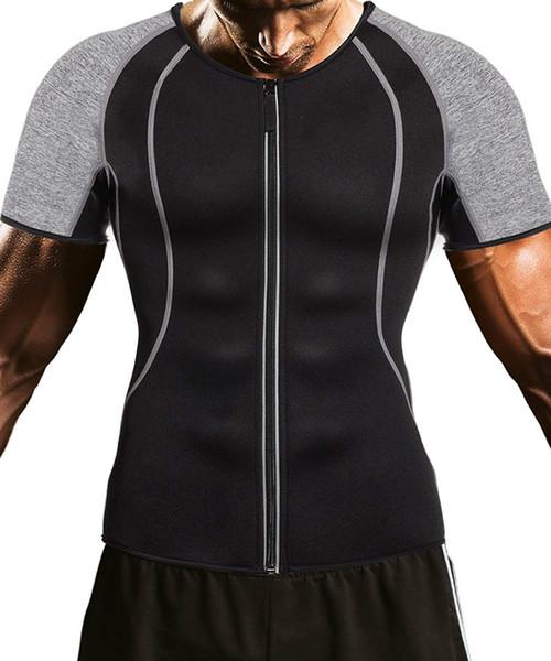 Camisa da perda de peso dos homens treino neoprene top treinamento shaper do corpo roupas suor sauna terno exercício de fitness de manga curta