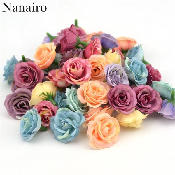 100pcs 3cm Mini Rose Tissu Fleur Artificielle Pour la Fête De Mariage Maison Décoration Chambre Chaussures De Mariage Chapeaux Accessoires Fleur De Soie