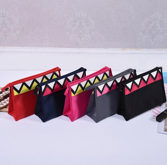 Multi Functional Creative Cosmetic Bags Small Square Triangle Teeth Pattern Cosmetic Bags Small Part Storage Bag