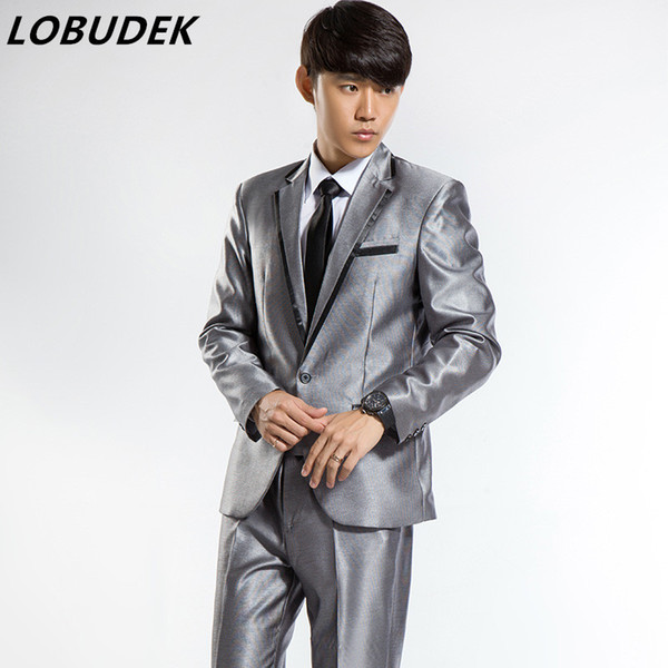 (Jacke + Pants) männliche Hochzeit Bräutigam Anzug Studio Shooting Anzug weiß schwarz Silber Mode Slim Sets Party formale Host Sänger Kleid