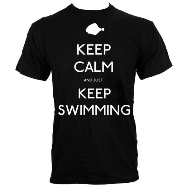 T-Shirt Keep Calm and Just Keep Swimming Homme Noir Cotton Tee Shirts top tee Cartoon Hip Hop Shirt