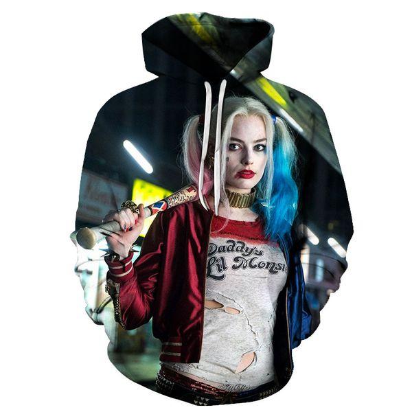 Hot Sale Men Women fashion Sweatshirt Suicide Squad Harley Quinn Costumes Hoodies 2018 Novelty 3D Hooded sweatshirts The jacket