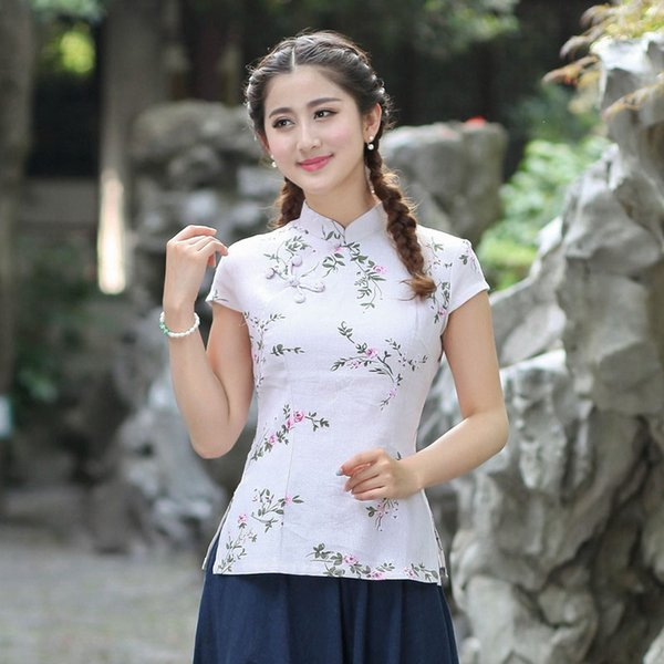 8ce4a0e2df Estilo chinês Jovem Mandarim Gola Camisa de Verão Do Vintage Blusa de Manga  Curta de Algodão