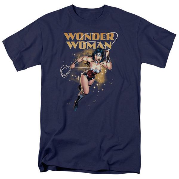 Wunder-Frauen-Stern-Lasso DC-Comics lizensiertes erwachsenes T-Shirt Neuheit-kühle Oberseiten-Mann-Kurzschluss-Hülsen-T-Shirt neueste Art und Weise 2018 Männer