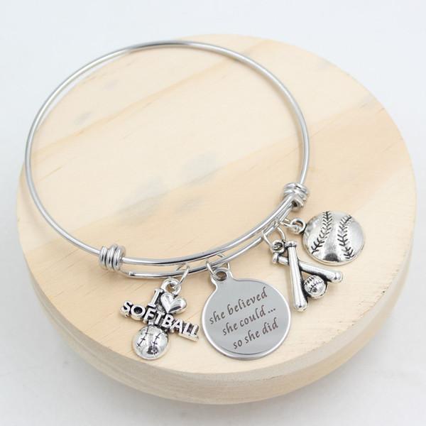 New Arrival Fashion Stainless Steel Wire Bangle Expandable Bangle Jewelry Sport Charm Bracelets I love Softball Bracelets for Women Gift