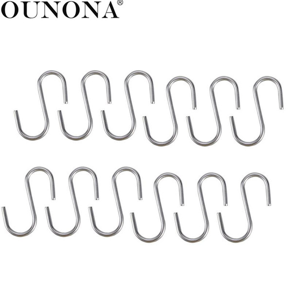 OUNONA 100Pcs Stainless Steel S Shaped Hooks Kitchen Spoon Pan Pot Utensils Hangers Clasp Over The Door Closet Clothes Rack Tool