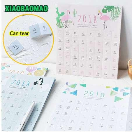 top popular Creative can be torn Calendar Paper Label Counter Mark Creative Cute Mini Self-adhesive October 2018 years 2020
