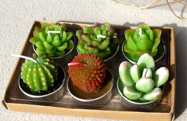 Hot Sale 6pcs 1set Decorative Wedding Candles Mini Cactus Candle Table Tea Light Home Garden Simulation Plant Candle party Home Decorations